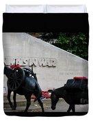 Public Memorial Honoring Military Animals In War London England Duvet Cover