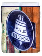 Public Telephone Sign Duvet Cover