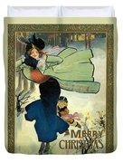 Card Christmas Skater Duvet Cover