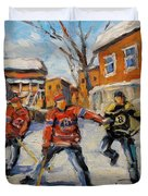Puck Control Hockey Kids Created By Prankearts Duvet Cover