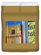 Pueblo Downtown Reflection With Flag Duvet Cover