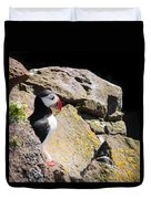 Puffin And Rocks Duvet Cover