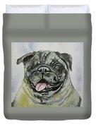 One Eyed Pug Portrait Duvet Cover