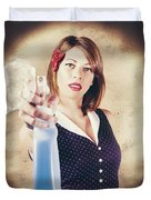 Pump Action Pin Up Woman Killing Glass Grime Duvet Cover