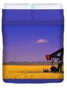 Pumpjack In A Canola Field Duvet Cover