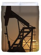 Pumpjack Silhouette Duvet Cover by Michael Interisano