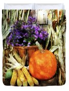 Pumpkin Corn And Asters Duvet Cover