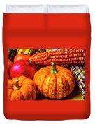 Pumpkin Corn Still Life Duvet Cover