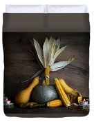 Pumpkin, Corncob, Autumn Leaves And Burning Candles Decoration O Duvet Cover
