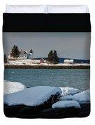 Pumpkin Island Lighthouse Duvet Cover