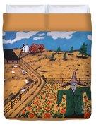 Pumpkin Patch Scarecrow Duvet Cover
