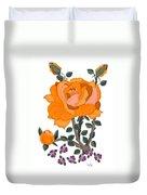 Pumpkin Rose And Violas Duvet Cover