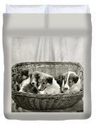 Puppies Of The Past Duvet Cover