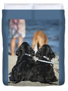 Puppies On The Beach Duvet Cover by Camilla Brattemark