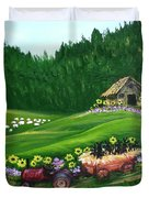 Pups First Hayride Duvet Cover