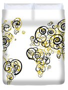 Purdue University Colors Swirl Map Of The World Atlas Duvet Cover