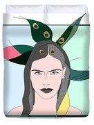 Pure Elixir- Beautiful Woman Portrait Minimalist Drawing Duvet Cover