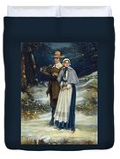 Puritans Going To Church Duvet Cover