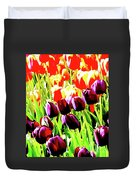 Purple And Peach Tulips 2 Duvet Cover
