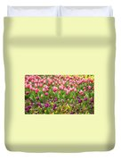 Purple And Pink Tulips In Canberra In Spring Duvet Cover