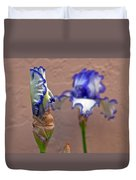 Purple And White Bearded Iris Bud Duvet Cover