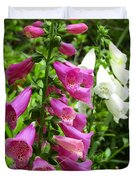 Purple And White Bell Flowers Duvet Cover