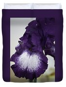 Purple And White Iris Bloom Duvet Cover