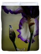 Purple And White Iris Flower Duvet Cover