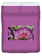 Purple And White Orchid Duvet Cover