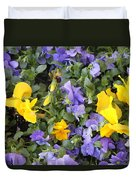 Purple And Yellow Flowers Duvet Cover