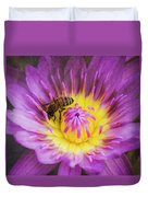 Purple And Yellow Lotus With A Bee Textured Duvet Cover