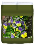 Purple And Yellow Pansies Duvet Cover