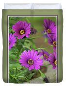 Purple Aster Flowers Duvet Cover