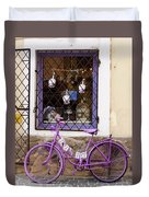 Purple Bicycle Duvet Cover