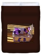 Purple Birdhouses 1 Duvet Cover