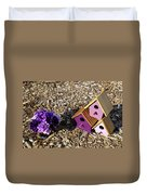 Purple Birdhouses 2 Duvet Cover