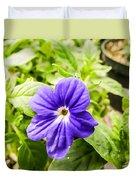 Purple Browallia Flower Duvet Cover