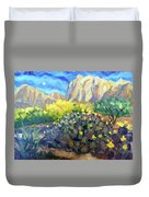 Purple Cactus With Yellow Flower Duvet Cover