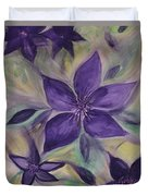 Purple Clematis Abstract Duvet Cover