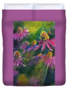 Purple Cone Flowers Outside Beye School Duvet Cover