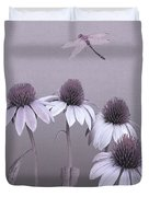 Purple Coneflowers And Dragonfly Duvet Cover