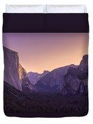 Purple Dawn At Yosemite Tunnel View Duvet Cover by Priya Ghose