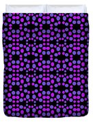 Purple Dots Pattern On Black Duvet Cover