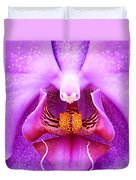 Purple Face In The Orchid. Duvet Cover