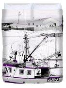 Purple Fishing Boat Duvet Cover
