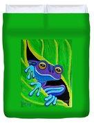 Purple Frog Peeking Through Duvet Cover