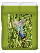 Purple Gallinule In Flight Duvet Cover