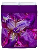 Purple Iris Abstract Duvet Cover