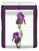Purple Iris Duet Duvet Cover