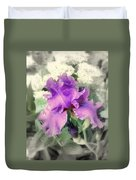 Purple Iris In Focal Black And White Duvet Cover